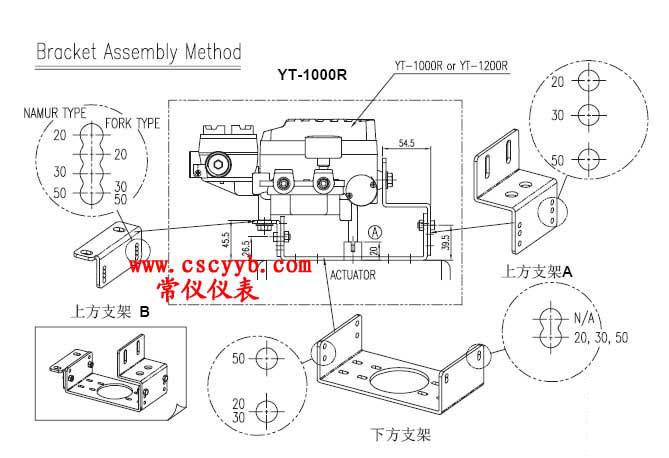 1 电气定位器与气动执行器安装图如下 一般执行机构轴的高度(h)分为2